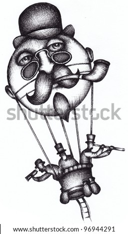 Hot air balloon as Jules Verne, French Science, Fiction Writer - stock photo