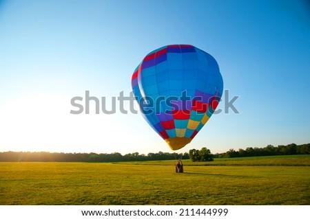 Hot Air Balloon at Dusk - stock photo