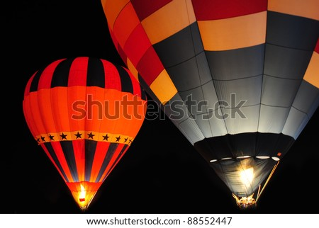Hot air balloon at night.