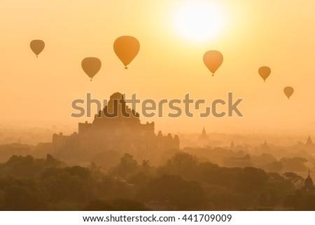 Hot air balloon at sunrise , Bagan , Myanmar - stock photo