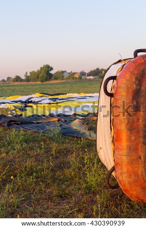 Hot air balloon basket early in the morning in Hungary,Europe
