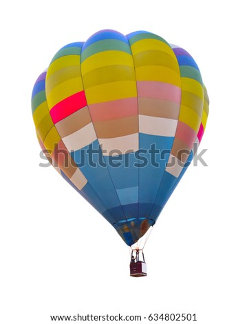 Hot air balloon blue color isolated on white background. This has clipping path.