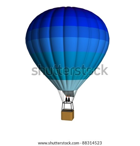 Hot air balloon. Blue colors. 3d render - stock photo