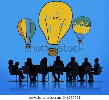 Hot Air Balloon Bulb Ideas Imagination Flight Concept - stock photo