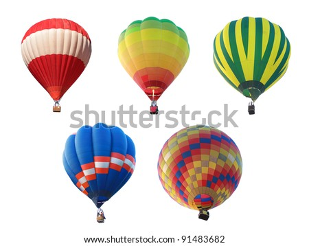hot air balloon collections - stock photo