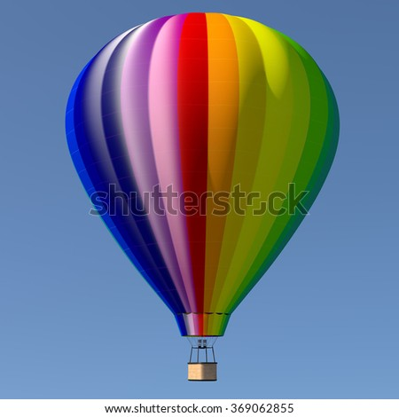 Hot air balloon - colorful 3D illustration isolated on clear blue sky