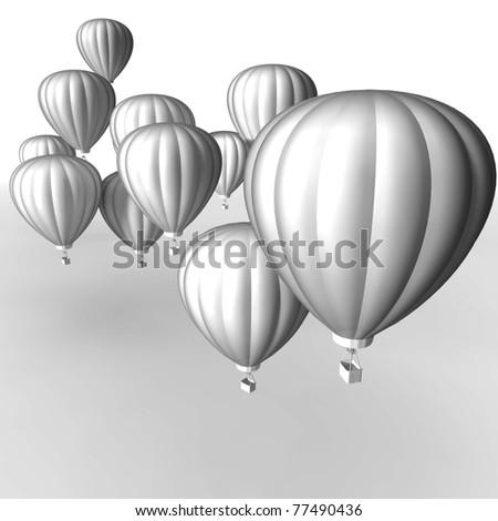hot air balloon 3D render - stock photo
