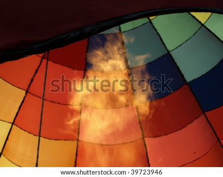 Hot air balloon festival in rural North Carolina.Firing up the air. - stock photo
