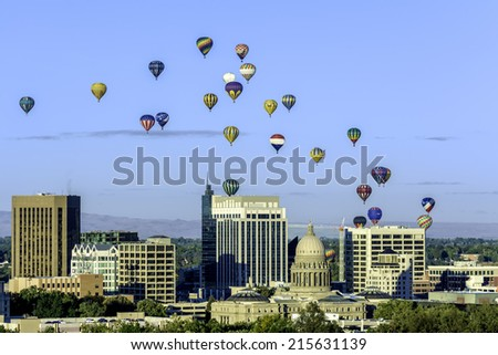 Hot air balloon festival over Boise Idaho - stock photo