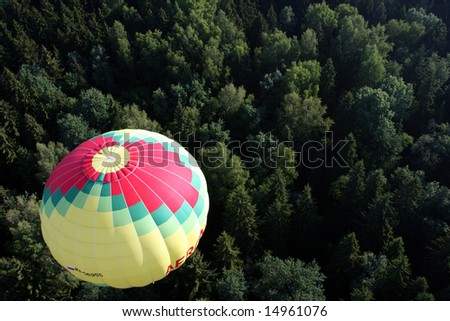 Hot air balloon. Forest - stock photo
