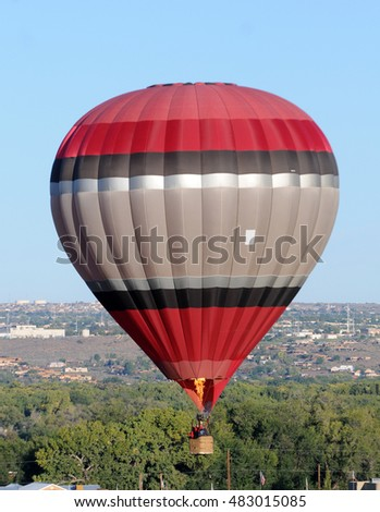 Hot air balloon in flight over the Southwest