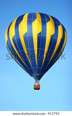 hot air balloon in morning blue sky
