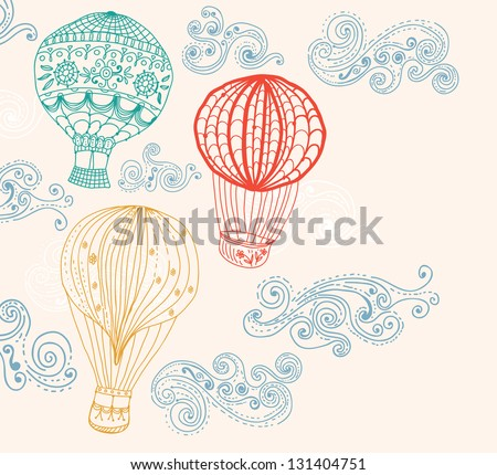 hot Air Balloon in sky, hand drawn Background for Design