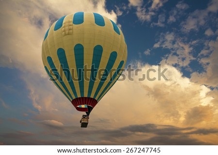 Hot air balloon in the sky - stock photo