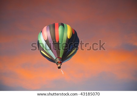 Hot-air balloon in the sunset