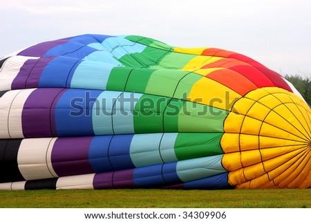 Hot Air Balloon inflation - stock photo