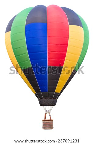 hot air balloon isolate on white background with clipping path - stock photo