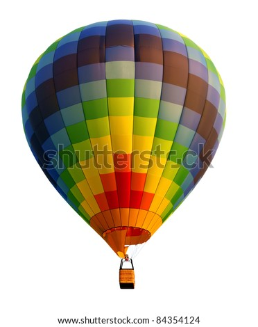 Hot air balloon, isolated against background - stock photo