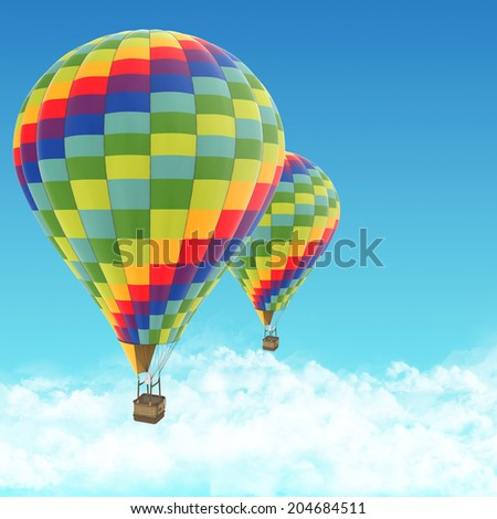 hot air balloon on blue sky.