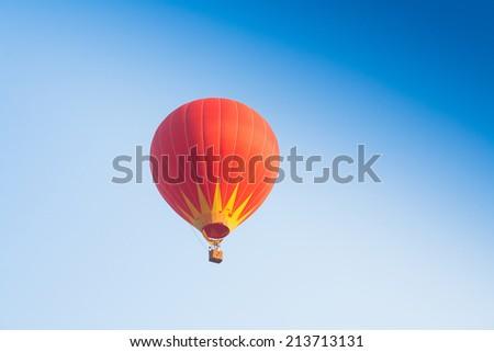 Hot air balloon on sky in Laos, Vang Vieng - stock photo