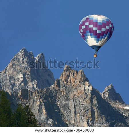 Hot Air Balloon Over the Rocky Mountains