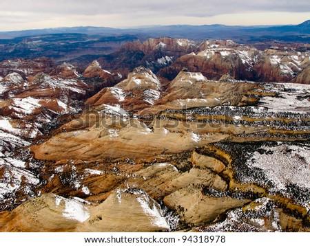 Hot Air Balloon Overflight Zion National Park - stock photo