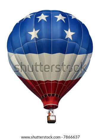 Hot air balloon. Red, white & blue - Isolated. - stock photo