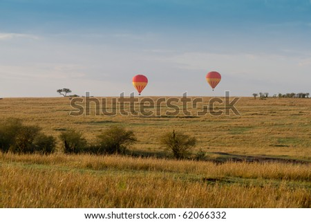 Hot air Balloon safari over the Masai mara - stock photo