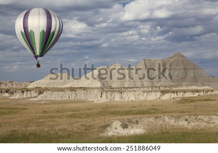 Hot Air Balloon Taking Off in the Badlands South Dakota - stock photo
