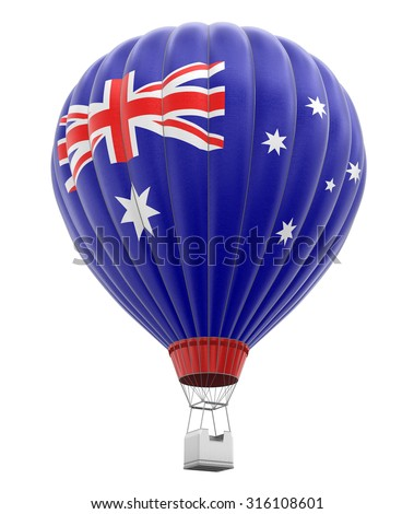 Hot Air Balloon with Australian Flag (clipping path included) - stock photo