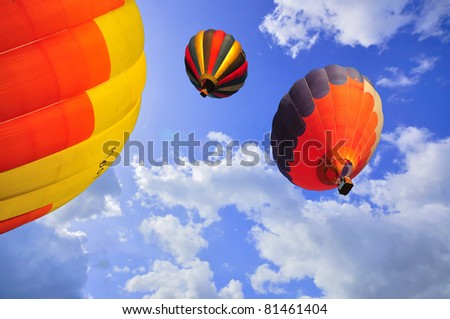Hot air balloon with blue sky and nice cloud in Thailand. - stock photo
