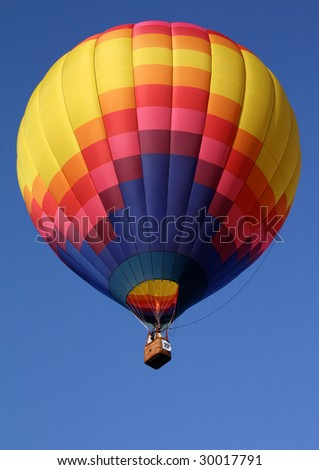 Hot Air Balloon with Bright Yellow Pattern - stock photo