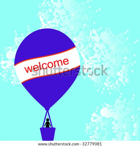 hot air balloon with card for your message - stock photo
