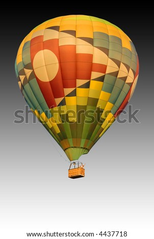 hot air balloon with dark sky background - stock photo