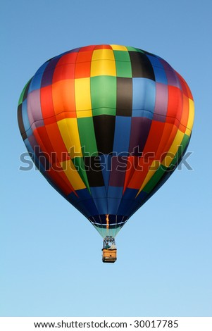 Hot Air Balloon with Rainbow Checker Pattern - stock photo