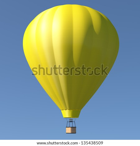 Hot air balloon with single yellow color - blue sky background - stock photo