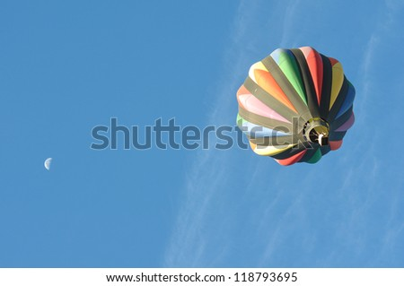 Hot Air Balloon with the Moon at the 2012 Reno Great Race - stock photo