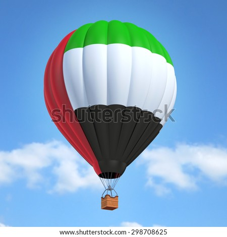 Hot air balloon with United Arab Emirates flag - stock photo