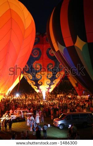 Hot Air Ballooning Groups - stock photo