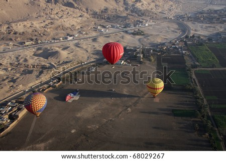 Hot air ballooning Luxor Egypt, aerial shot