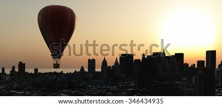 hot air balloons and skyscraper