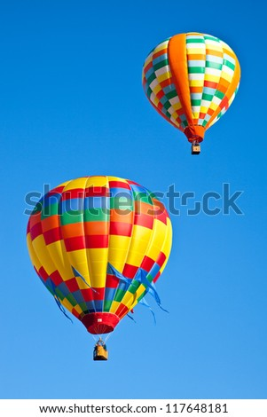 Hot air balloons fill the sky during the Carolina Balloon Festival, Statesville, North Carolina. - stock photo