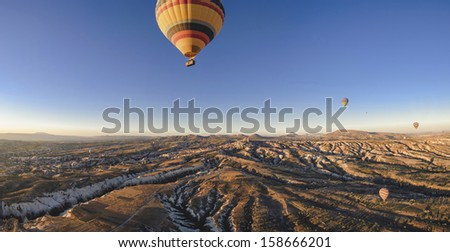 Hot air balloons in cappadocia - stock photo