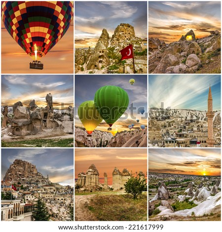 Hot air balloons in Cappadocia, Turkey. Collage - stock photo