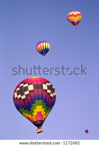 Hot-air balloons in flight.