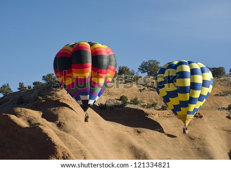 Hot Air Balloons in Gallup, New Mexico. - stock photo