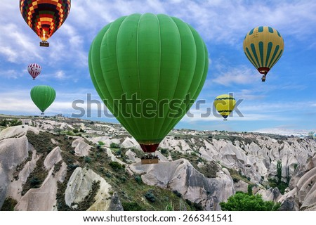 Hot air balloons in Goreme national park - stock photo