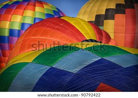 Hot Air Balloons Inflating - stock photo