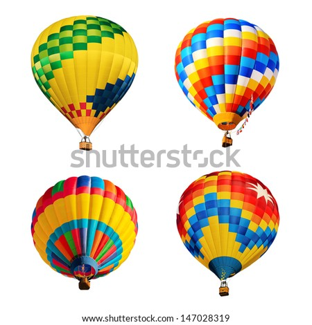hot air balloons isolated - stock photo