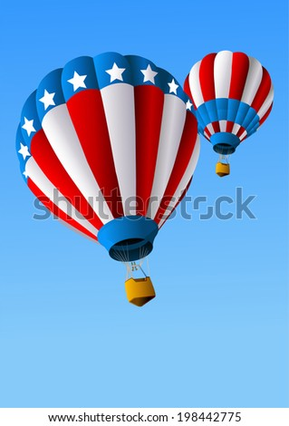 Hot Air Balloons of 4 of July in Flight Background. Raster version.